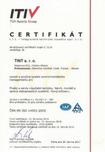 Certifikát ISO 14001 společnosti TINT s. r. o.