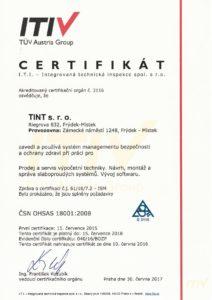 Certifikát ISO 18001 společnosti TINT s. r. o.