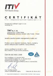 Certifikát ISO 9001 společnosti TINT s. r. o.