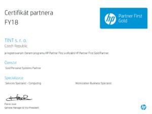 Gold certifikát partnera HP pro rok 2018